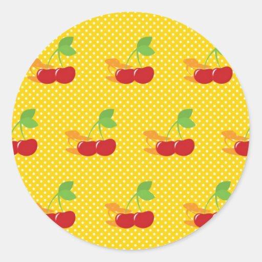Cerezas en lunares amarillos y blancos (2) etiqueta