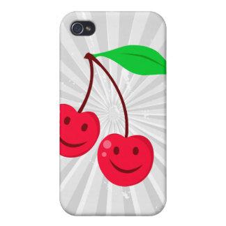 cerezas felices sonrientes de la cara iPhone 4/4S fundas