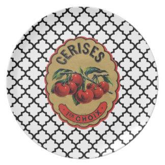Cerezas francesas del vintage etiquetadas placa plato de comida