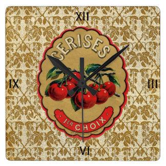 Cerezas francesas del vintage etiquetadas reloj