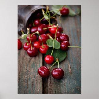 Cerezas frescas póster