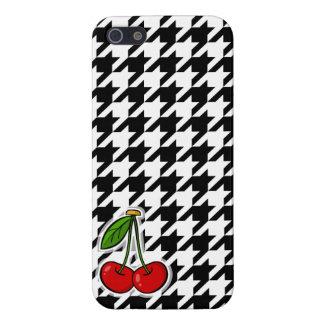 Cerezas; Houndstooth negro y blanco iPhone 5 Coberturas
