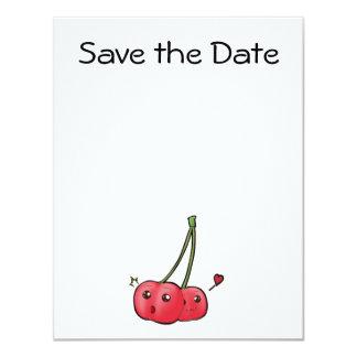 Cerezas lindas del kawaii en invitaciones del amor invitación 10,8 x 13,9 cm