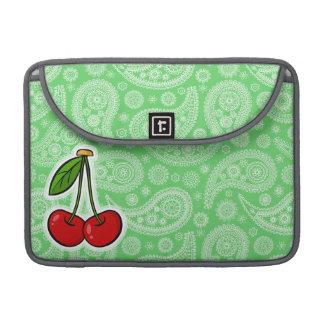 Cerezas; Paisley verde Fundas Para Macbooks