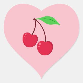 Cerezas Pegatina En Forma De Corazón