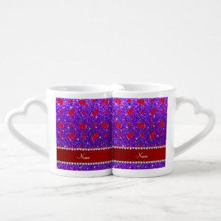 Cerezas púrpuras personalizadas del brillo del taza para parejas