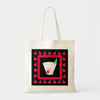Cerezas rojas de la bebida retra pasada de moda en bolsa tela barata
