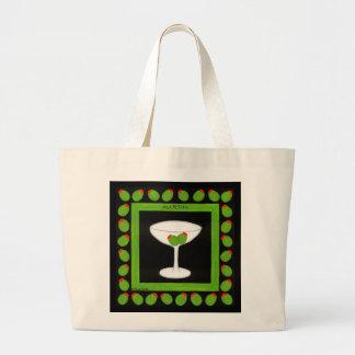 Cerezas rojas de la bebida retra pasada de moda en bolsa tela grande