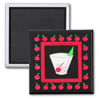 Cerezas rojas de la bebida retra pasada de moda en imán cuadrado