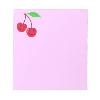 Cerezas rojas sonrientes bloc de notas