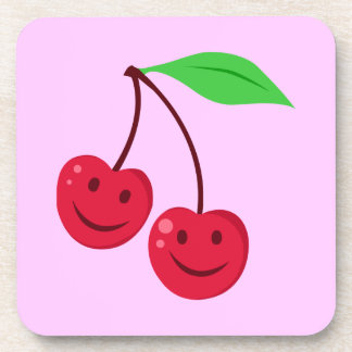 Cerezas rojas sonrientes posavasos de bebida
