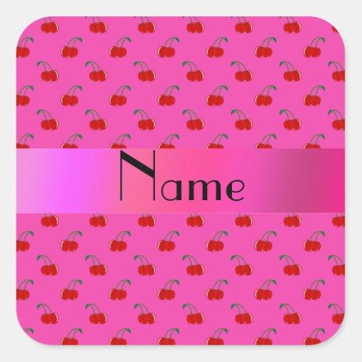 Cerezas rosadas conocidas personalizadas calcomanías cuadradases