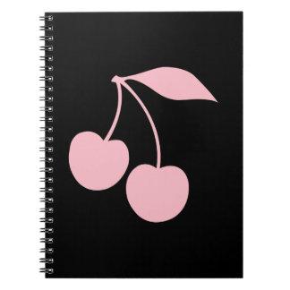 Cerezas rosadas libro de apuntes con espiral