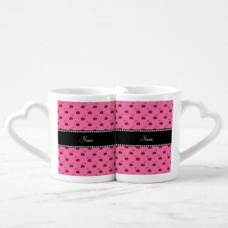 Cerezas rosas claras conocidas personalizadas taza para enamorados