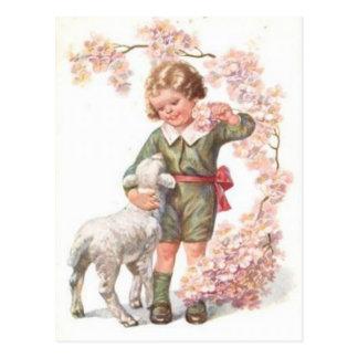 Cerezo del cordero del niño del Victorian Postales