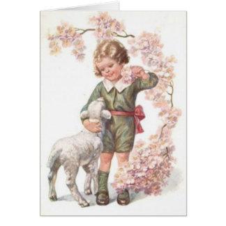 Cerezo del cordero del niño del Victorian Tarjeta De Felicitación