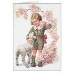 Cerezo del cordero del niño del Victorian Tarjeton
