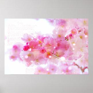 Cerezo japonés con los flores del rosa en colores póster