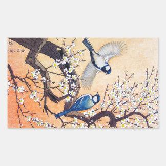 Cerezo oriental fresco de los pájaros de Yoshida Pegatina Rectangular