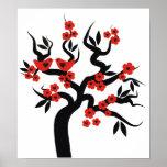 Cerezo y flores negros rojos de Sakura de los pája Póster