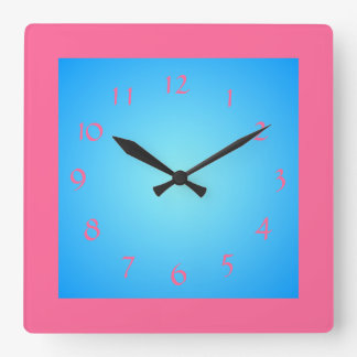 Cerice Pink Boarder /Blue Face>Wall Clock