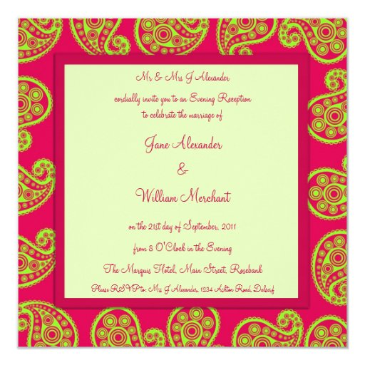 Cerise and Lime Paisley Evening Wedding Invite