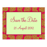 Cerise and Lime Paisley Pattern Save the Date Card Post Cards
