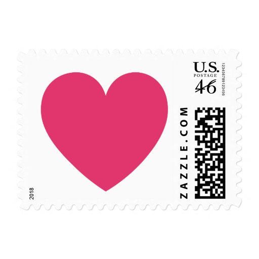 Cerise heart love or Valentines day postage stamp
