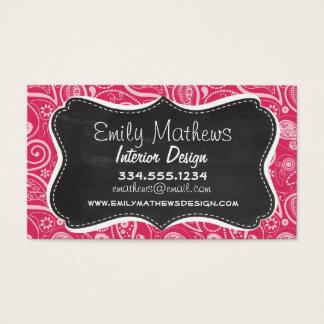 Cerise Paisley; Floral; Retro Chalkboard Business Card