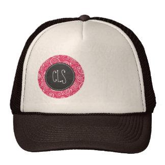 Cerise Paisley; Floral; Retro Chalkboard Trucker Hat