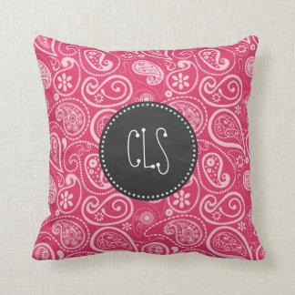 Cerise Paisley; Floral; Retro Chalkboard Pillow