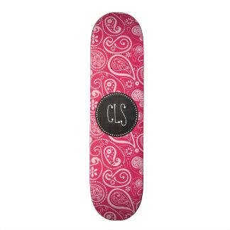 Cerise Paisley; Floral; Retro Chalkboard Skate Boards