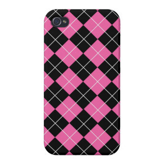 Cerise Pink and Black Argyle Plaid Pattern iPhone 4/4S Cover
