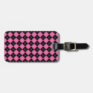 Cerise Pink and Black Argyle Plaid Pattern Tag For Luggage