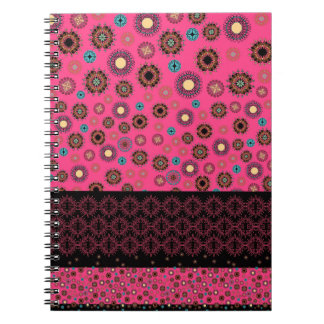 Cerise Pink Folksy Flowers Pattern Notebook