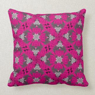 Cerise Pink Grey Mix Modern Floral Damask Print Throw Pillow
