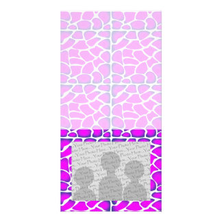 Cerise Pink Pattern Photo Card Template