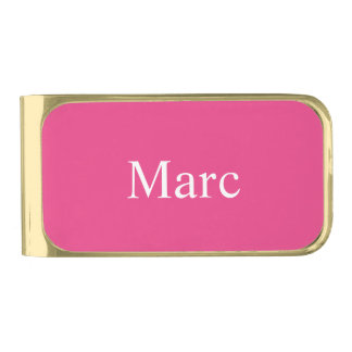 Cerise Pink Personalized Gold Finish Money Clip