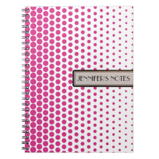Cerise Polka Dot Elegant Modern White Notebook
