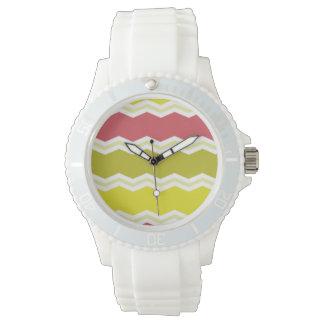 Cerise Red, Citrine, Yellow Chevron Stripes Wristwatches