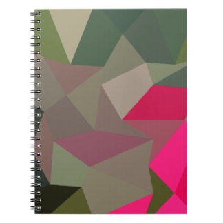 Cerise Red Green Abstract Low Polygon Background Spiral Notebook