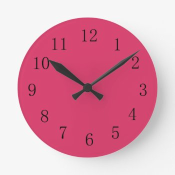 Cerise Red Kitchen Wall Clock by Red_Clocks at Zazzle