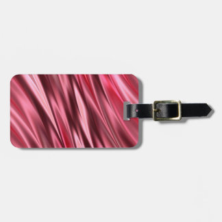 Cerise red satin effect stripes luggage tag