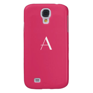 Cerise Red with White Monogram Galaxy S4 Covers