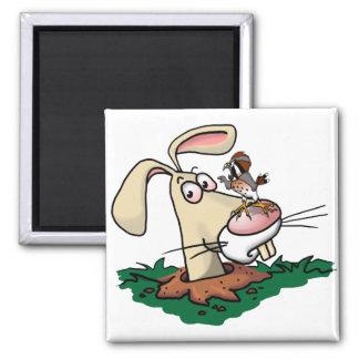 Cernícalo y conejo imán para frigorífico