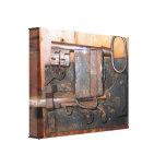 Cerradura de puerta vieja y lona envuelta llave lienzo envuelto para galerías