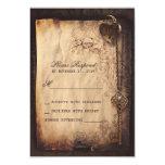 Cerradura del corazón y vintage de la llave que invitación 8,9 x 12,7 cm