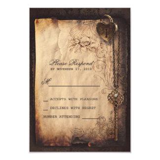 """Cerradura del corazón y vintage de la llave que invitación 3.5"""" x 5"""""""