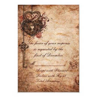 """Cerradura elegante y llave que casan la tarjeta de invitación 3.5"""" x 5"""""""