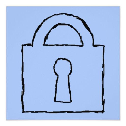 Cerradura. Icono secretísimo o confidencial Invitación 13,3 Cm X 13,3cm